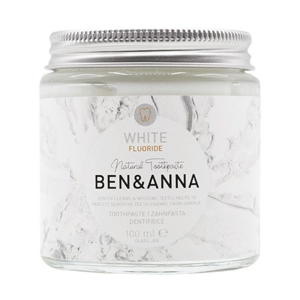 Ben&Anna tégelyes fehérítő fogkrém fluoriddal 100ml