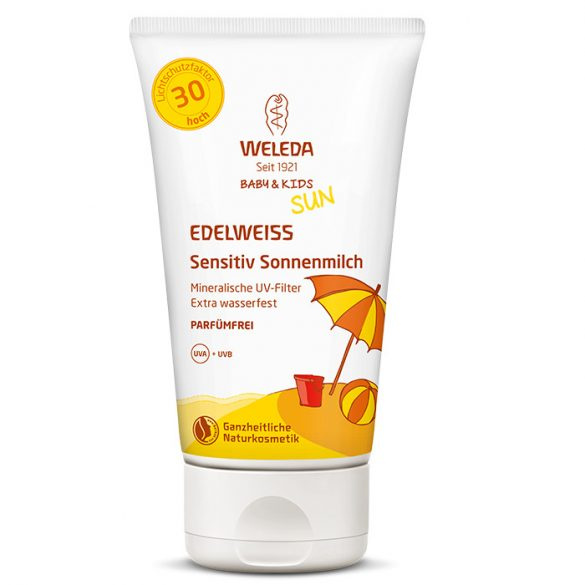 Weleda Havasi gyopár extra vízálló gyermek naptej érzékeny bőrre SPF30 150ml (szépséghibás)